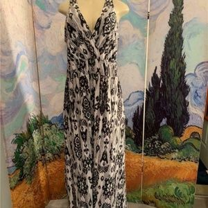 Lane Bryant Black Print Surplice Neck Maxi Dress